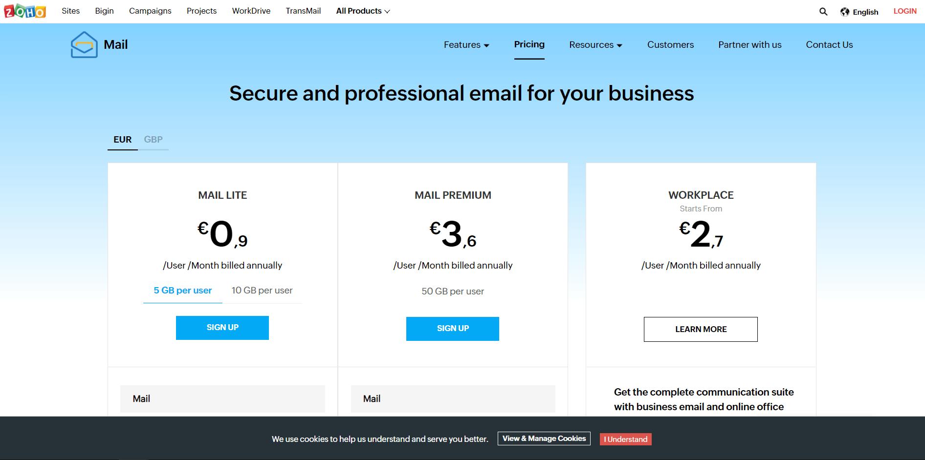 Почта под своим доменом. Выбираем подходящий тарифный план.