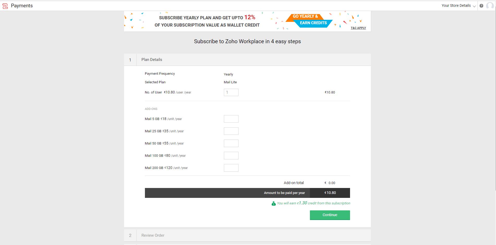 Как зарегистрировать почту на свой домен. Указываем сколько почтовых ящиков и памяти нужно.