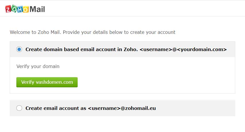 Как настроить почту на своем домене. Создаём почтовый ящик в панели управления Zoho Mail.
