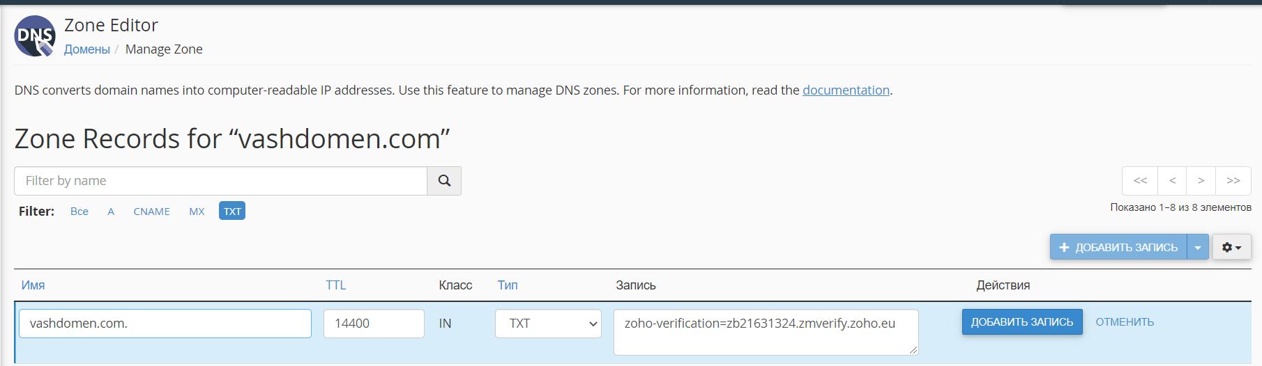 Как открыть корпоративную почту. Создаём верификационную TXT-запись в панели управления хостингом cPanel.