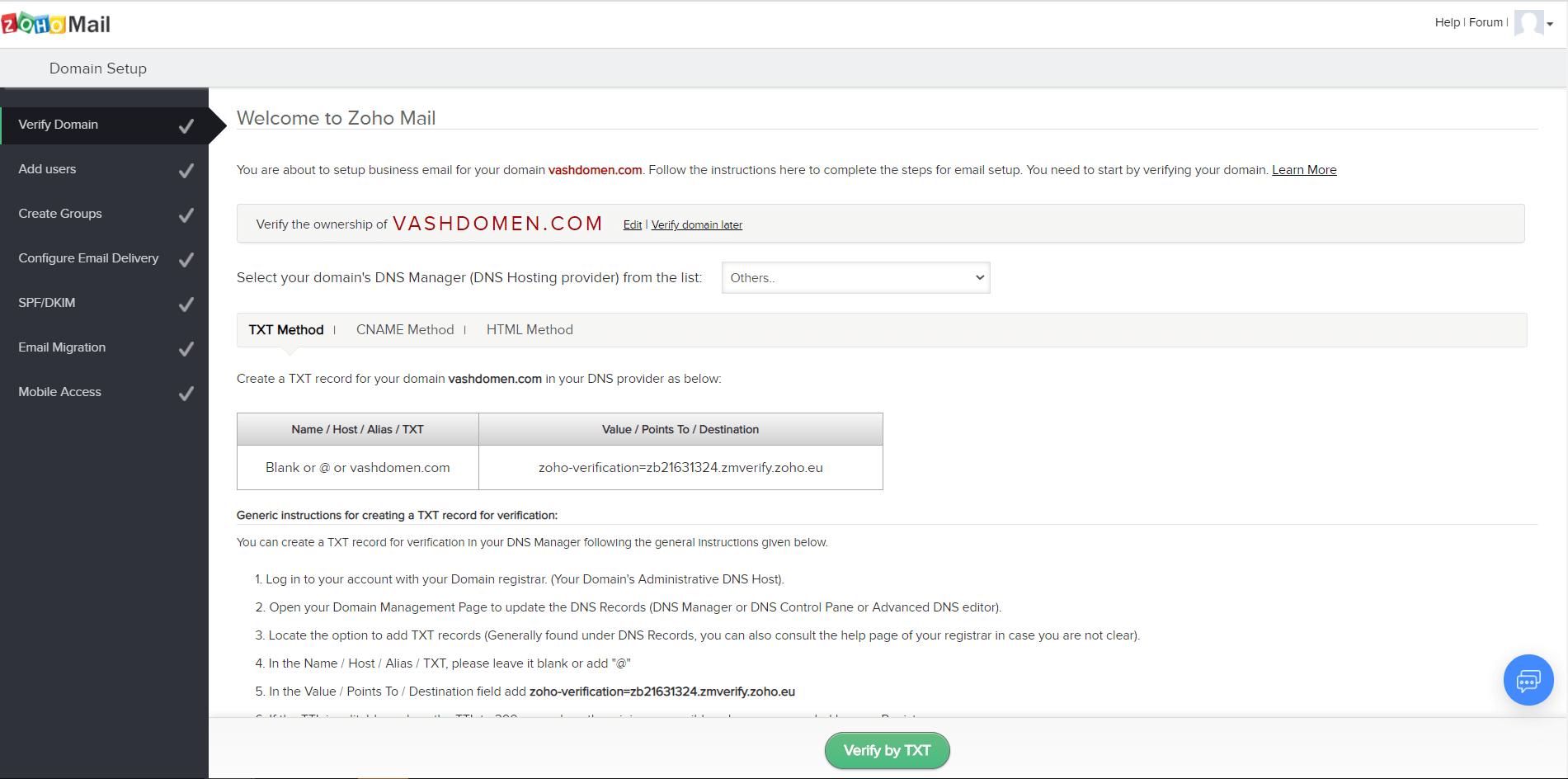 Как сделать доменную почту. Подтверждаем создание верификационной TXT-записи в аккаунте Zoho Mail.